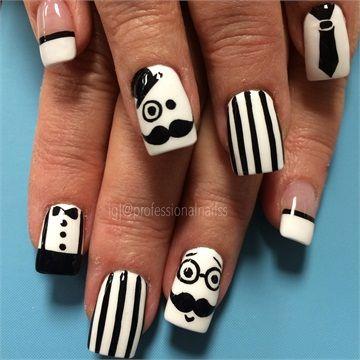 Mer enn 20 bra ideer om mustache nail art p pinterest day 317 gentlemanly nail art prinsesfo Choice Image