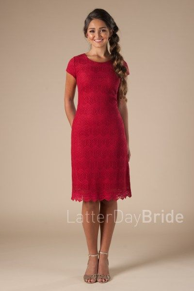 81ee24b95ca0 modest dresses for bridesmaids at Latter Day Bride, the Carter with lace in  red