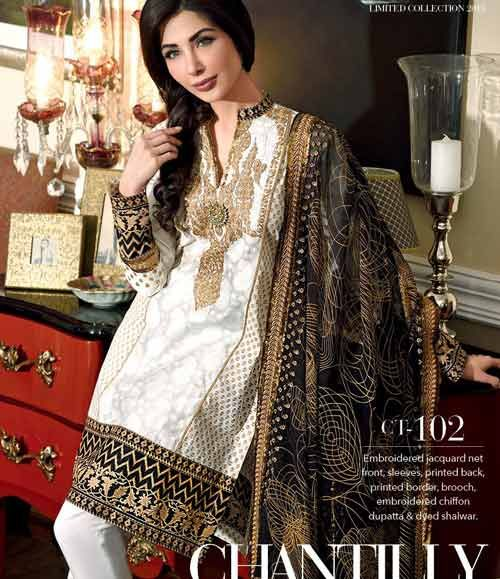 Gul Ahmed Chantilly de Chiffon festive collection CT-102