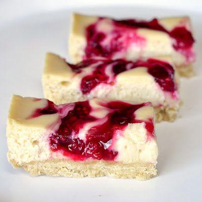 Raspberry Swirl Cheesecake Dessert Bars - Pretty and elegant.  Made with fresh raspberries and not jam.  Delish!