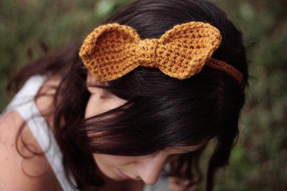 crochet bow headband . mustard yellow yarn . feminine funny