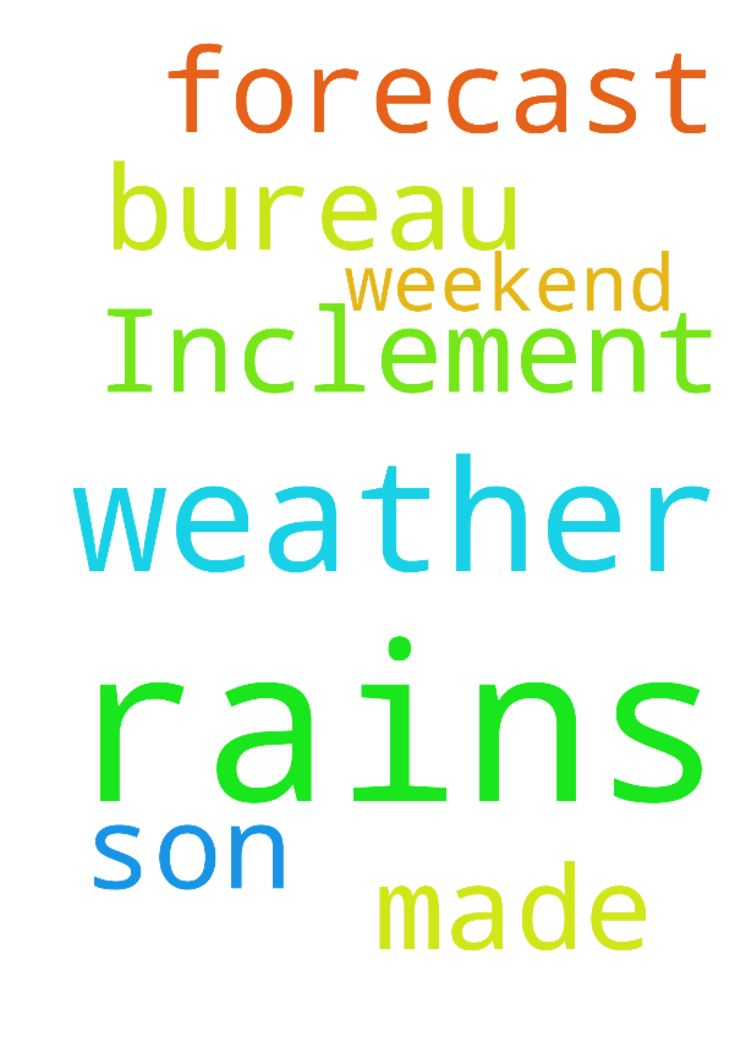 Inclement Weather -  Father the weather bureau has made forecast of rains again up to this weekend, No more rains please Father.... We ask this in the name of your son Jesus  Posted at: https://prayerrequest.com/t/kx2 #pray #prayer #request #prayerrequest