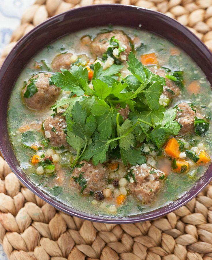 Italian Wedding Soup with Fregola Sarda & Spinach Recipe