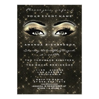 #bridal #shower #invitations - #Faux Gold Spark Sepia Makeup Glitter Bridal Shower Card
