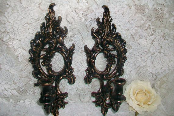 Black Wall Sconce Pair, Black and Gold, Set of Vintage Candle Holder