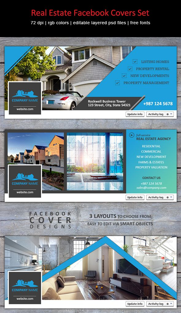 Modern creative facebook timeline covers for real estate for Estate agency interior design