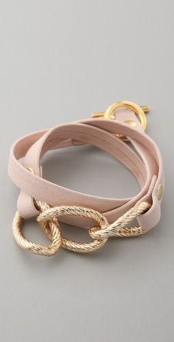 leather + gold: Gold Chains, Gold Wraps, Parker Leather, Gold Bracelets, Pale Pink, Pink Bracelets, Leather Wraps Bracelets, Gold Link, Leather Bracelets