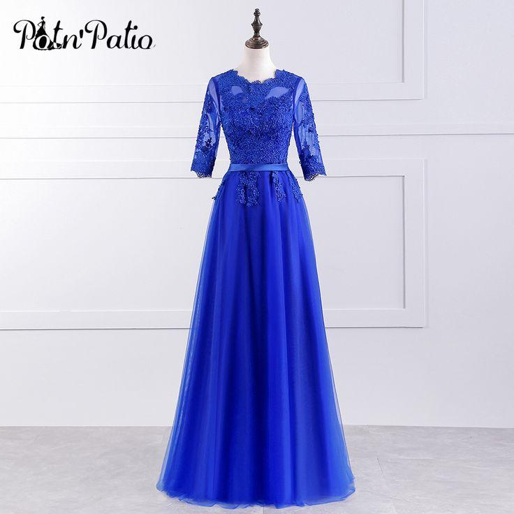 PotN'Patio Half Sleeve Royal Blue Bridesmaid Dress Long Floor-Length Plus Size 2017 New Arrival #Affiliate