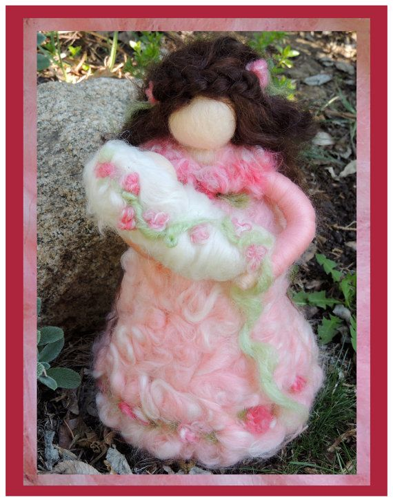 Printed Note Card - Spring Mother-image from soft sculpture fairy standing figure by Rebecca Varon Nushkie Design
