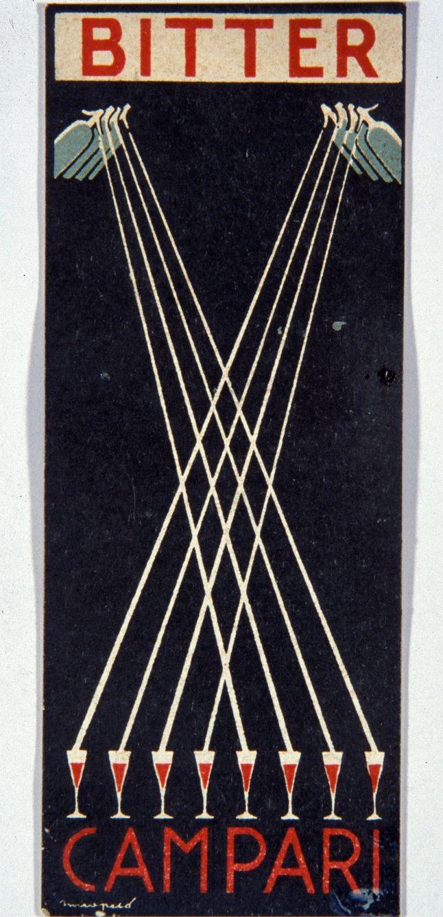 Bitter poster (1921) for Campari by Italian artist and poster designer First Sinopico (Raoul Chareun, 1889-1949). source: treccani. via Galleria Campari