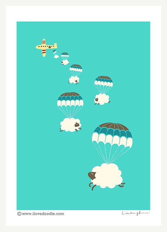 Sheepy Clouds art print by ilovedoodle on Etsy