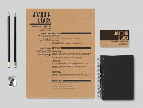 The Black Resume  Customizable resume template by itsprintable, $15.00