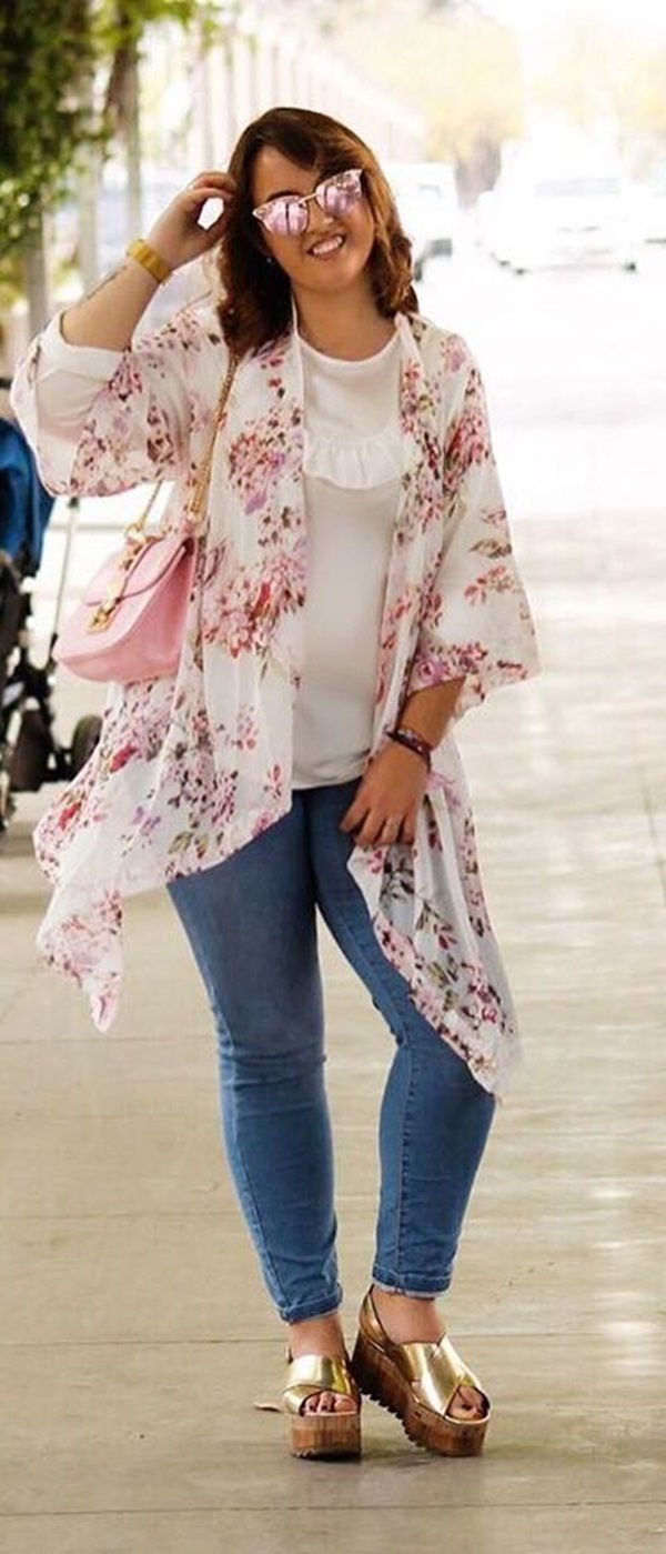 A gorgeous floral outfit by Patricia Sanchez featuring white floral chiffon kimono. #LBSDaily
