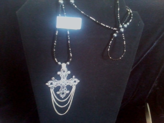 Chained Cross on Glass Beaded Necklace by CagomeasCreations,