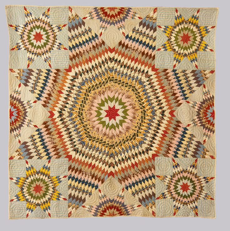 """American """"Star of Bethlehem"""" Quilt, ca. 1875 Pieced and quilted cotton 99 x 94 1/2 in. (251.46 x 240.03 cm) Gift of Richard and Erna Flagg M1975.95"""