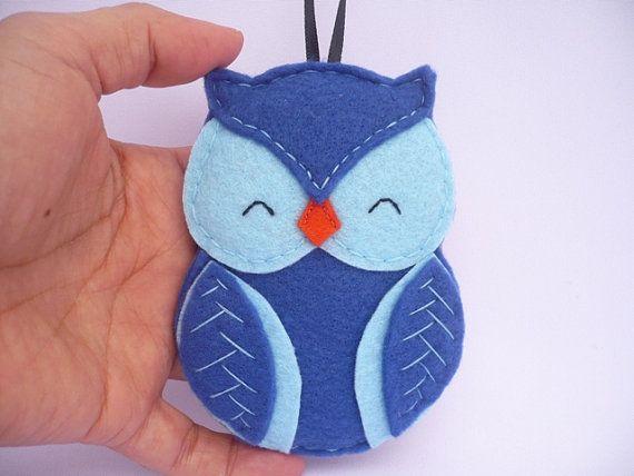Owl felt Christmas ornament  blue felt decoration  wall by ynelcas, $12.00