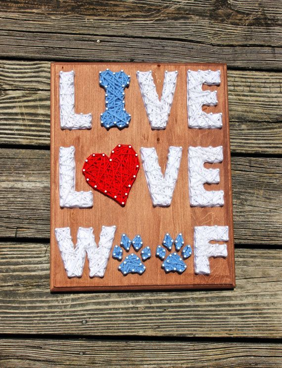$40, Live Love Woof Nail & String Art by EclecticGreetings on Etsy