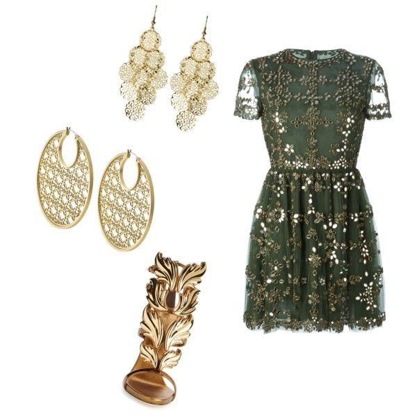 this dress needs nothing else..... by shivangi-ss on Polyvore featuring polyvore fashion style Valentino Giuseppe Zanotti Michael Kors Alexia Crawford