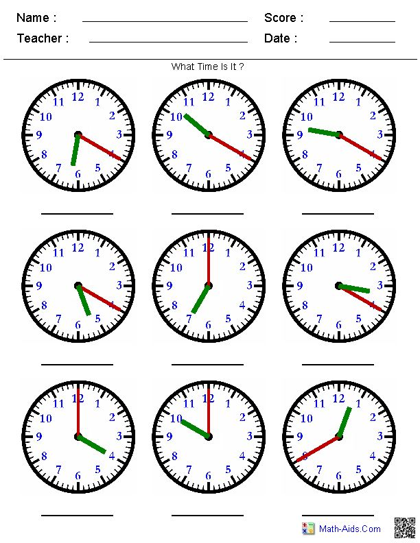 Identify the Time by the Hands Worksheets
