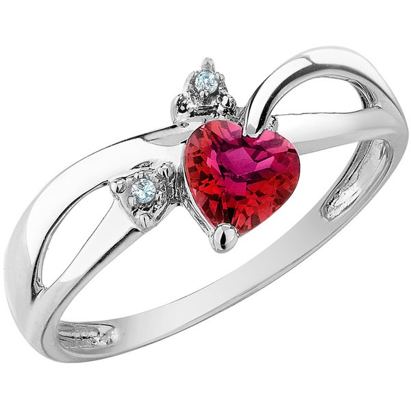Created Ruby Heart Ring with Diamonds 1/2 Carat (ctw) in 10K White Gold ($179) found on PolyvoreRuby Heart, Carat Ctw, Create Ruby, Heart Rings, Diamonds 1 2, White Gold, 10K White, Diamonds 12, 1 2 Carat