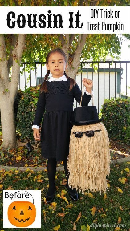 Detailed step by step tutorial for a DIY Cousin It trick or treat pumpkin for a Wednesday Addams Halloween costume. http://skreened.com/bodditees/mean-girls-wednsday-adams