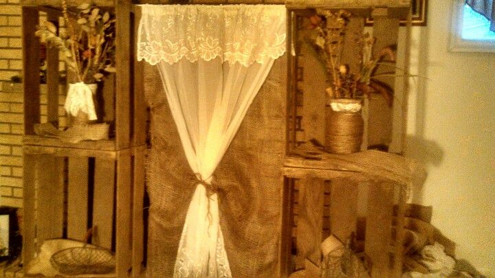 country rustic wedding backdrop apple crates  burlap and burlap and lace christmas tree burlap and lace barn
