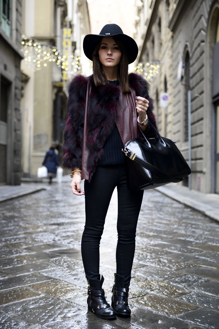 20 Ways to Wear Colorful Fur - multicolor deep burgundy + black fur coat + black skinny jeans and a fedora: