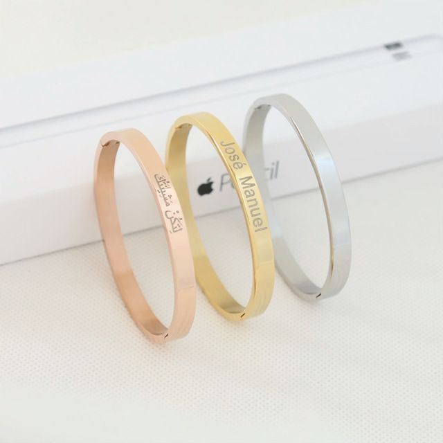 Sale Price $6.82, Buy Personalized Europe Titanium Bracelet Lovers Opening Custom Engraved DIY Rose Gold Lettering Stainless Steel Hand Women Jewelry