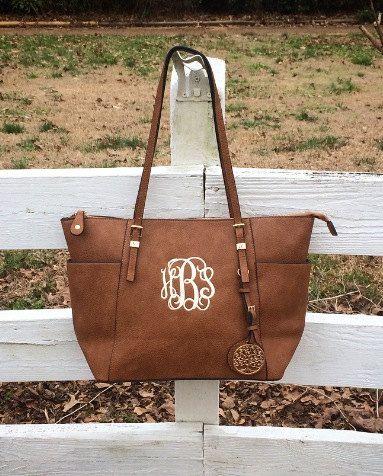 Monogram Purse, Brown Pocketbook, Brown Leather Monogram Tote Purse, Brown Pocketbook , Designer Inspired Handbag,