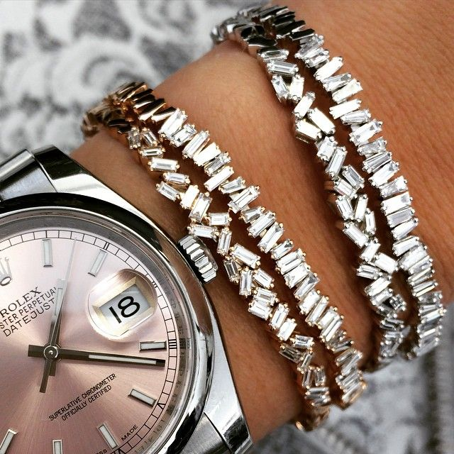 suzanne kalan -- these diamond baguette bangles are a staple!