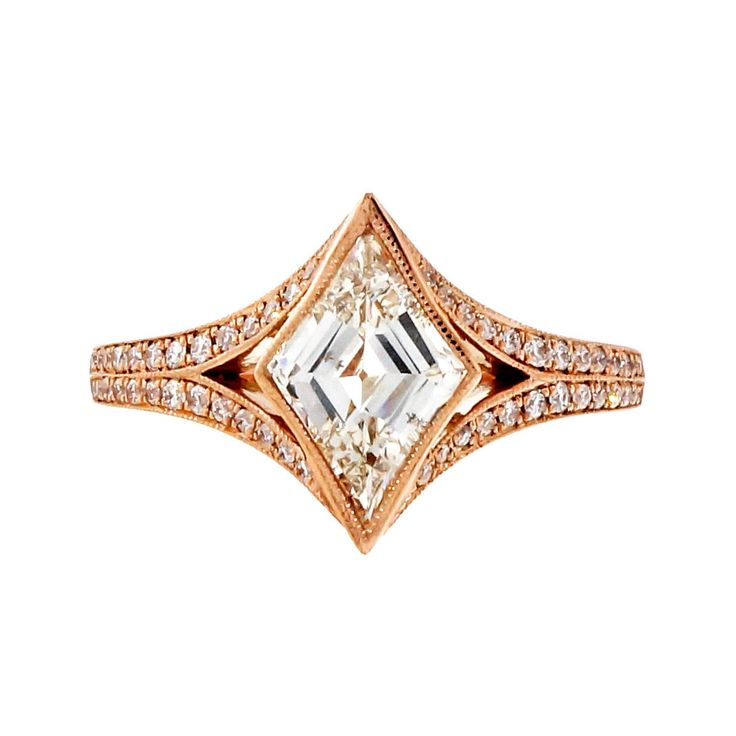 Peter Suchy Kite Shape Diamond Rose Gold Engagement Ring | From a unique collection of vintage engagement rings at https://www.1stdibs.com/jewelry/rings/engagement-rings/
