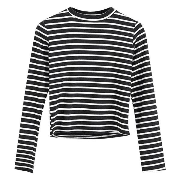Long Sleeve Stripes Layering Top Black ($17) ❤ liked on Polyvore featuring tops, zaful, striped top, striped long sleeve top, stripe top, double layer top and layered tops