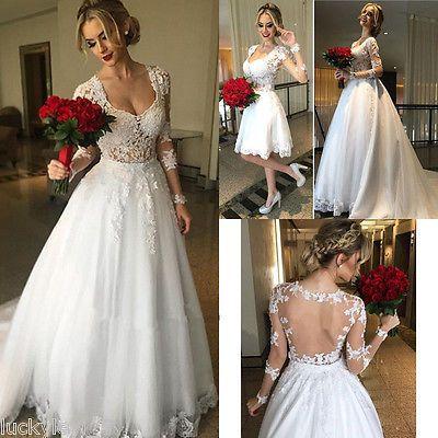 Princess Lace Bridal Dress Long Sleeve Sheer Back Detachable Skirt