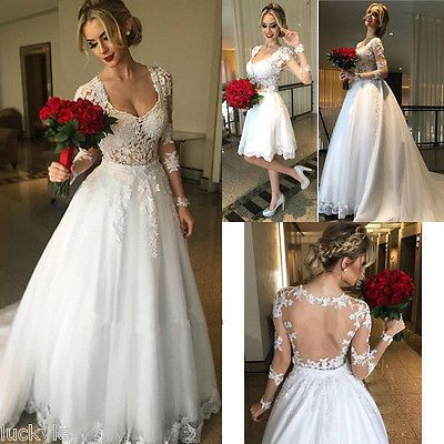 Princess Lace Bridal Dress Long Sleeve Sheer Back Detachable Skirt Wedding Gown