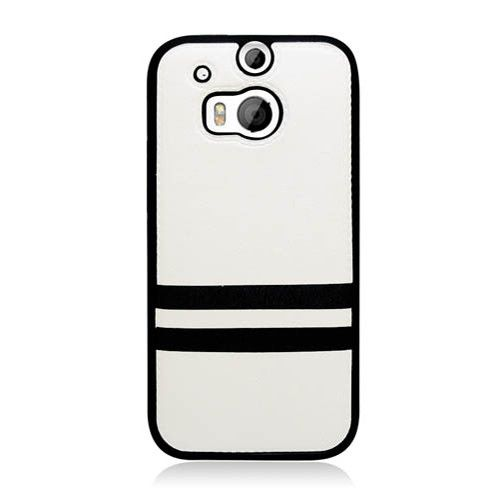 Eaglecell Hybrid PU Leather HTC One M8 Case - White/Black