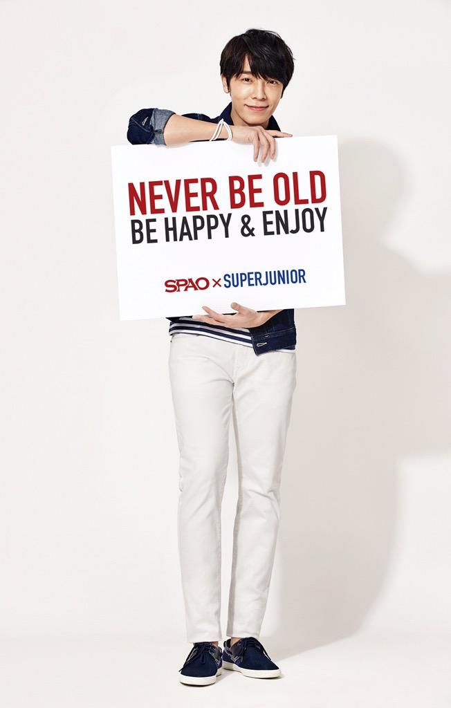 """[PIC] 150410 SPAO Update - Donghae: """"Never Be Old, Be Happy & Enjoy""""."""