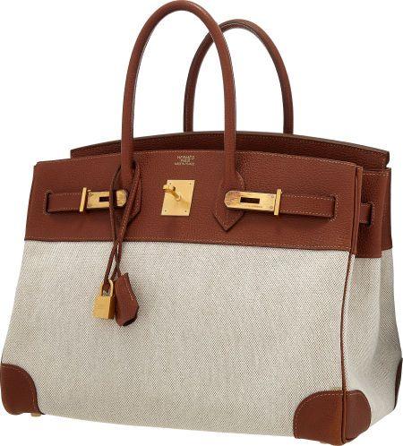 Hermes 35cm Natural Buffalo Leather & Toile Birkin Bag with Brushed Gold Hardware