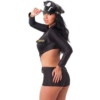 Description:   Sexy one size fits most black police uniform with hat. Made from 90%polymide and 10% spandex the one piece suit will have the bad…