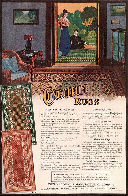 1915 Congoleum Rug Advertisement By American Vintage Home