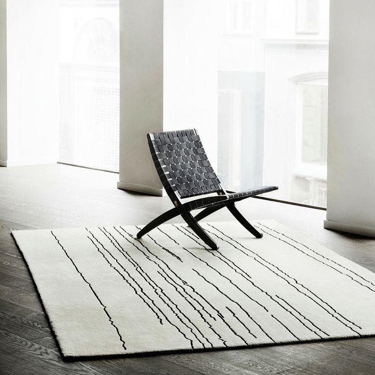 Woodlines Rug White With Black Lines | Naja Utzon Popov For Carl Hansen U0026  Son
