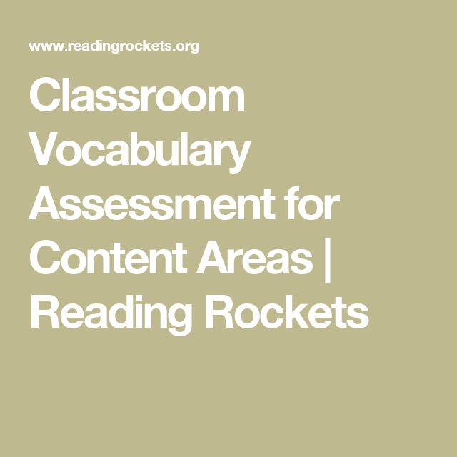 ASSESSMENT: Classroom Vocabulary Assessment for Content Areas