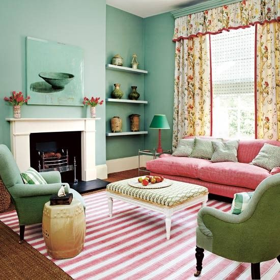 Pink And Green/teal Living Room With Striped Pink Rug And Floral Curtains.I Part 2