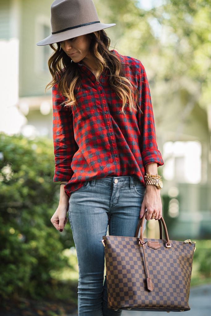 RED PLAID + GRAY JEANS | Sequins & Things