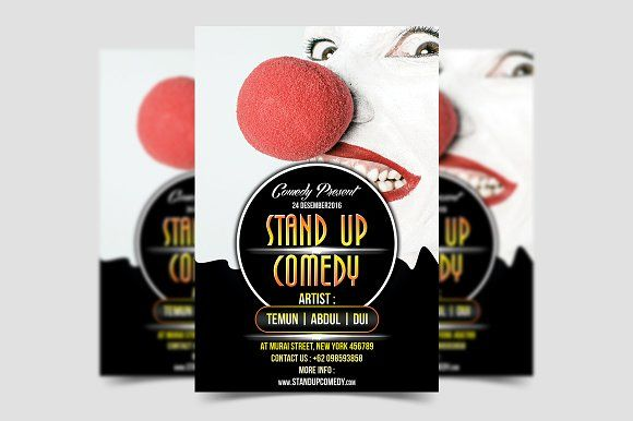 Stand Up Comedy Flyer Template by meisuseno on @creativemarket