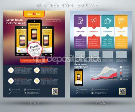 Modelo de panfleto de negócios vetor. Para a aplicação móvel ou loja online — Ilustração de Stock #58361385