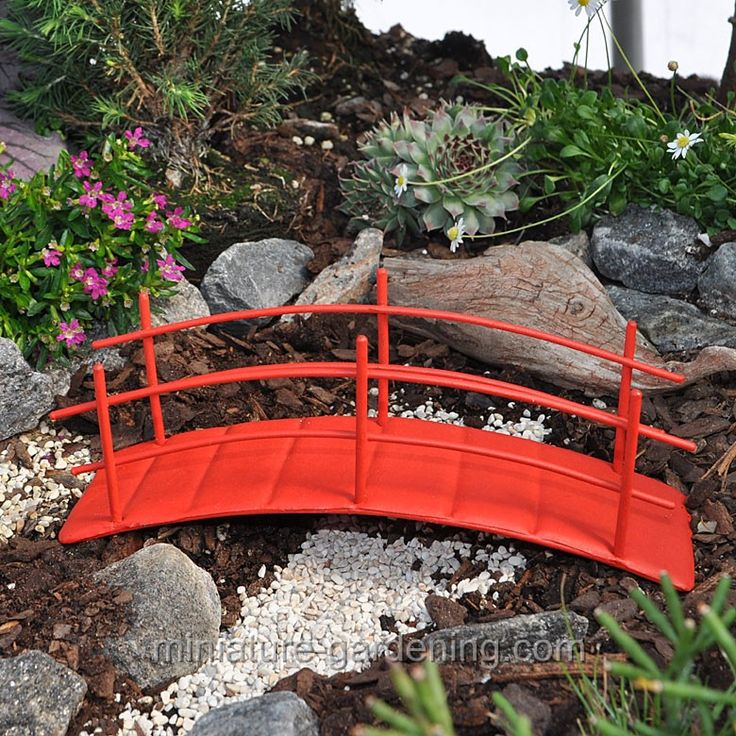 zen garden bridge for miniature gardening miniaturegardening fairy - Red Japanese Garden Bridge
