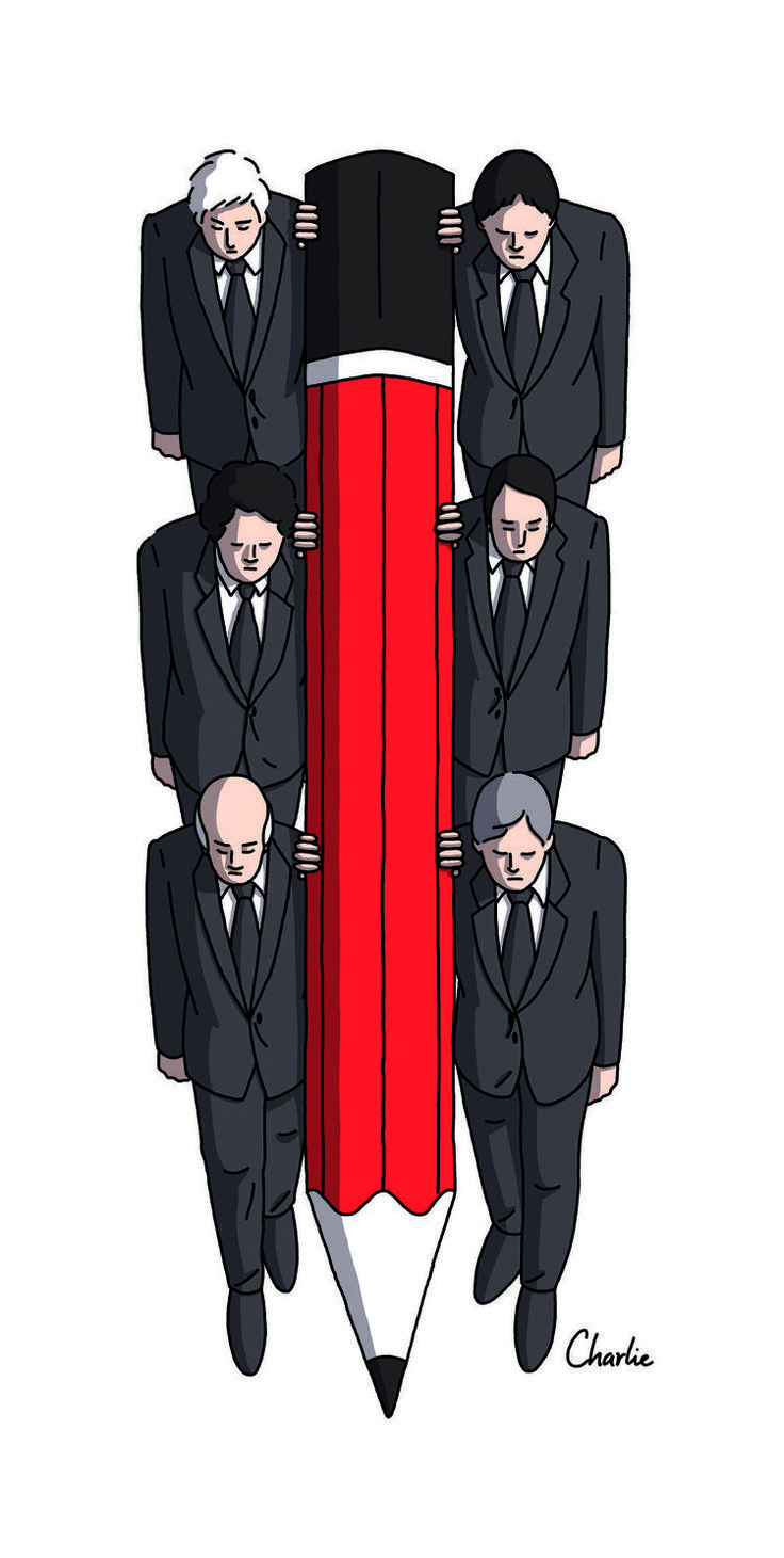 Haut les crayons pour «Charlie» - Libération  De très nombreux dessinateurs français et étrangers rendent hommage leurs confrères assassinés mercredi.