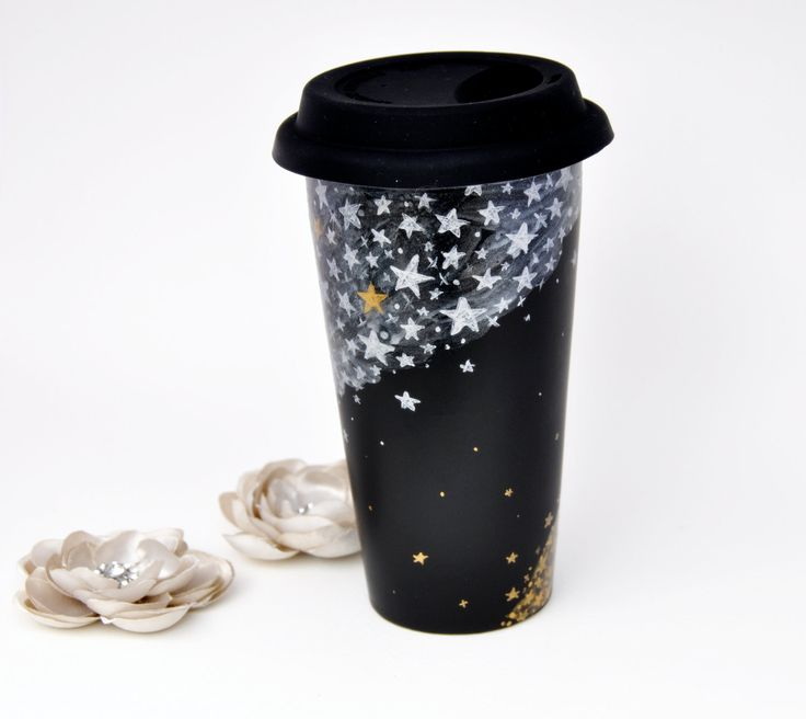 Black Ceramic Travel Mug - Made to Order - Hand Painted Winter Silver and Gold Stars Chalkboard Eco Cup - Silicon Lid. $37.00, via Etsy.