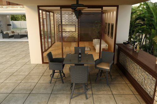 Forever Patio FPHAM5BARCHBE Hampton 5 Piece Bar Height Dining Set with Chocolate Frame -- Check out this .