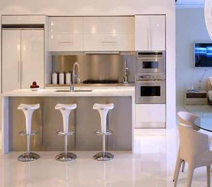 Very cool modern kitchen. White is a great color if the home is small and doesn't have a lot of light.